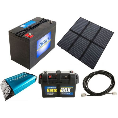 Adventure Kings 200W Solar Blanket with MPPT + AGM Deep Cycle Battery 115AH + 1500W Pure Sine Wave Inverter + Battery Box + 10m Lead For Solar Panel Extension