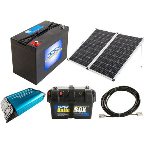 Adventure Kings 250w Solar Panel + AGM Deep Cycle Battery 115AH + 1500W Pure Sine Wave Inverter + Battery Box + 10m Lead For Solar Panel Extension