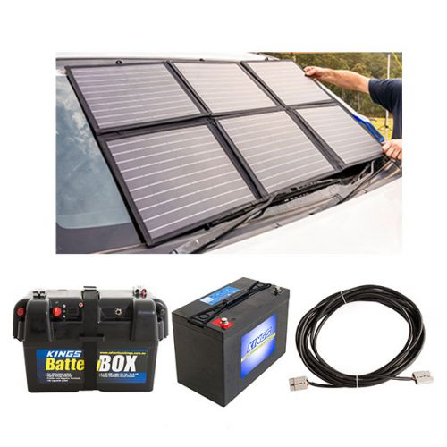 Adventure Kings 120W Portable Solar Blanket + Battery Box + AGM Deep Cycle Battery 115AH + 10m Lead For Solar Panel Extension