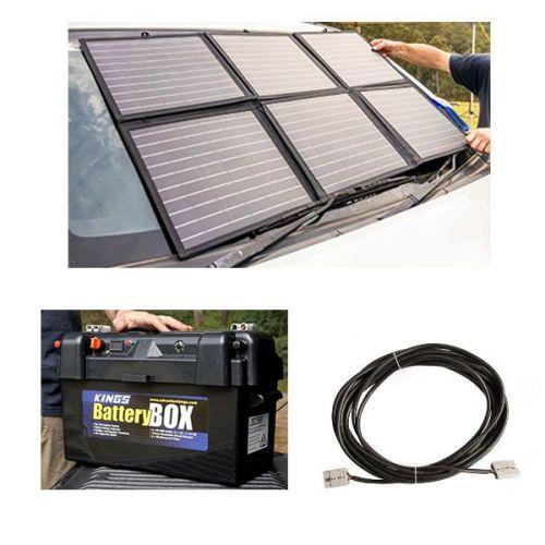 Adventure Kings 120W Portable Solar Blanket + 10m Lead For Solar Panel Extension + Maxi Battery Box