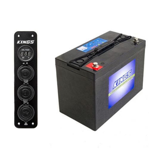Adventure Kings AGM Deep Cycle Battery 115AH + 12V Accessory Panel