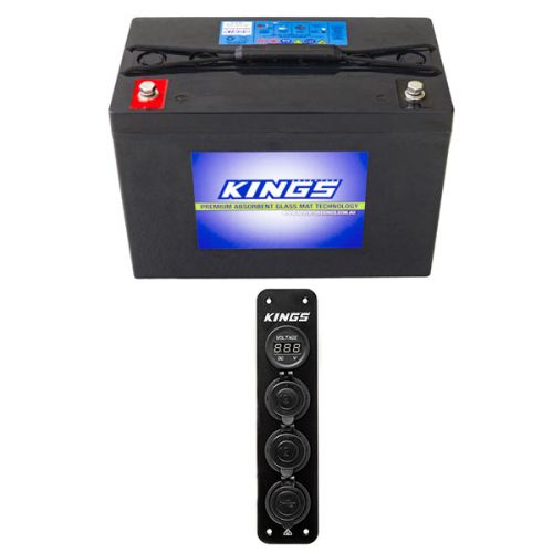 Adventure Kings AGM Deep Cycle Battery 98AH + 12V Accessory Panel