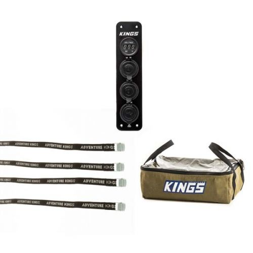 Adventure Kings 12V Accessory Panel + Clear Top Canvas Bag + Fridge Tie Down Straps (4 pack)