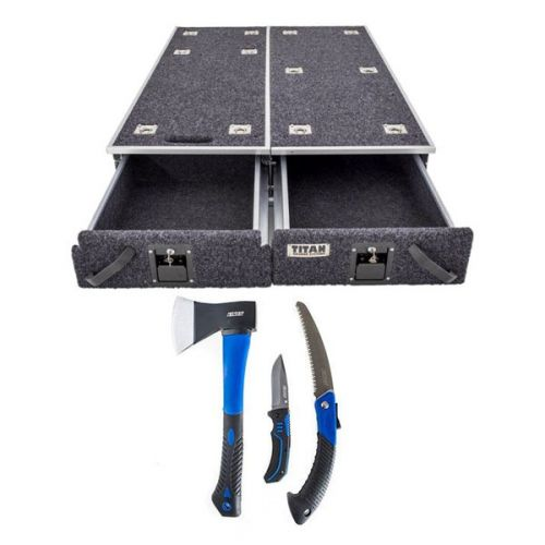 1300mm Titan Drawer System Suitable for Utes + Kings Three Piece Axe, Folding Saw and Knife Kit