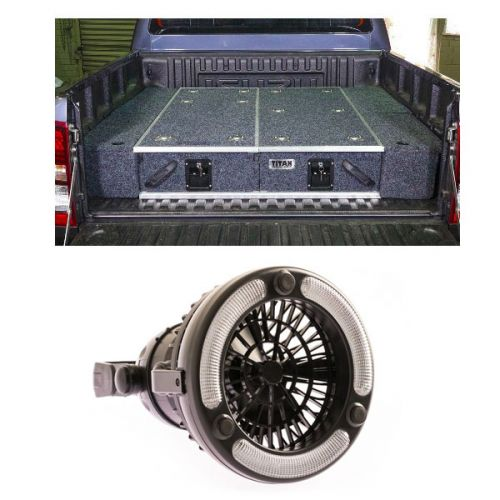 1300mm Titan Drawer System Suitable for Utes + Wings For 1300mm Titan Drawers + Adventure Kings 2in1 LED Light & Fan