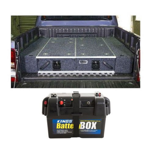 1300mm Titan Drawer System Suitable for Utes + Wings For 1300mm Titan Drawers + Adventure Kings Battery Box