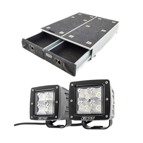 "1300mm Titan Drawer System Suitable for Utes + 3"" LED Work Light - Pair"