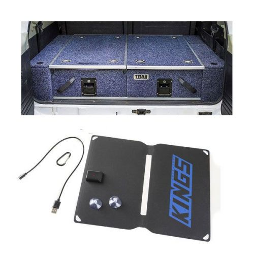 1300mm Titan Drawer System Suitable for Utes + Wings For 1300mm Titan Drawers + Adventure Kings 10W Portable Solar Kit