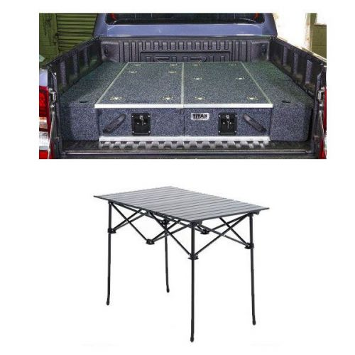 1300mm Titan Drawer System Suitable for Utes + Wings For 1300mm Titan Drawers + Aluminium Roll-Up Camping Table