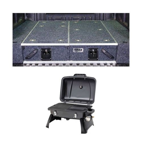 1300mm Titan Drawer System Suitable for Utes + Wings For 1300mm Titan Drawers + Voyager Portable Gas BBQ