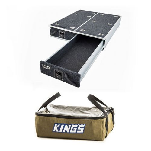 1300mm Titan Drawer System Suitable for Utes + Adventure Kings Clear Top Canvas Bag