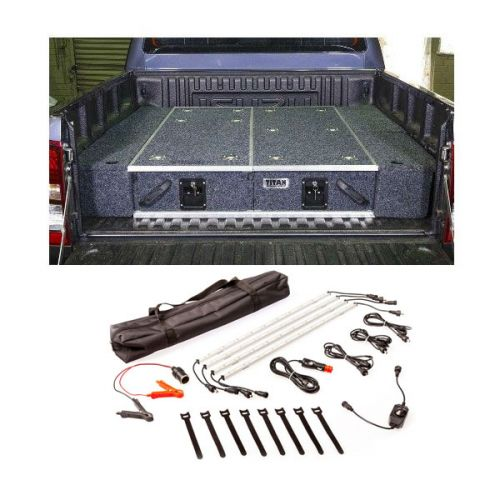 1300mm Titan Drawer System Suitable for Utes + Wings For 1300mm Titan Drawers + Illuminator 4 Bar Camp Light Kit