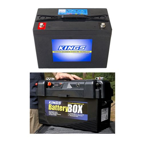 Adventure Kings AGM Deep Cycle Battery 98AH + Maxi Battery Box