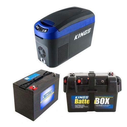 Kings 15L Centre Console Fridge/Freezer + AGM Deep Cycle Battery 115AH + Battery Box
