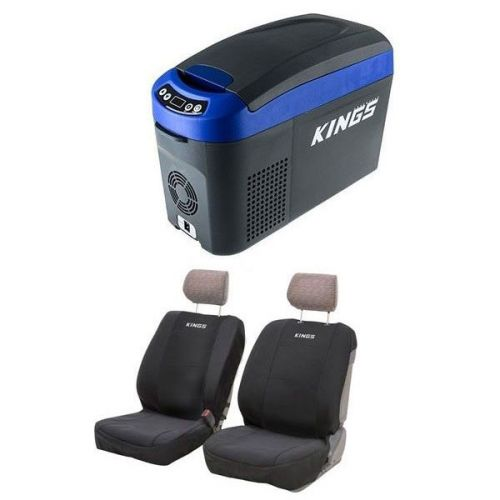 Adventure Kings 15L Centre Console Fridge/Freezer + Neoprene Front Seat Covers