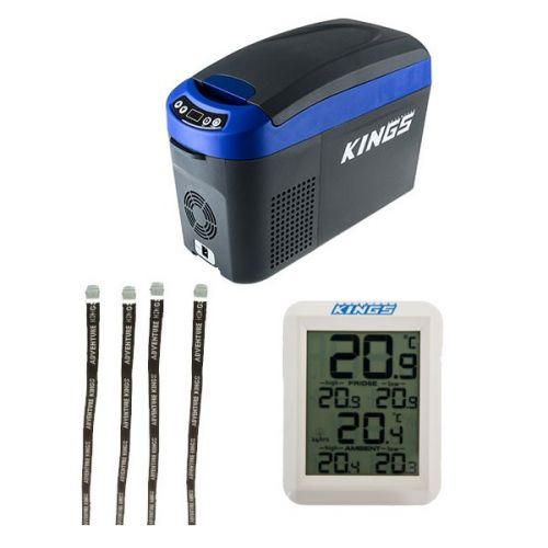 Adventure Kings 15L Centre Console Fridge/Freezer + Fridge Tie Down Straps (4 pack) + Wireless Fridge Thermometer