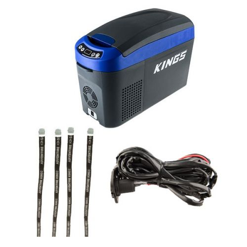Adventure Kings 15L Centre Console Fridge/Freezer + 12V Fridge Wiring Kit + Fridge Tie Down Straps (4 pack)