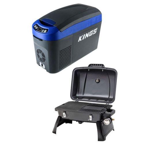 Adventure Kings 15L Centre Console Fridge/Freezer + Gasmate Voyager Portable BBQ