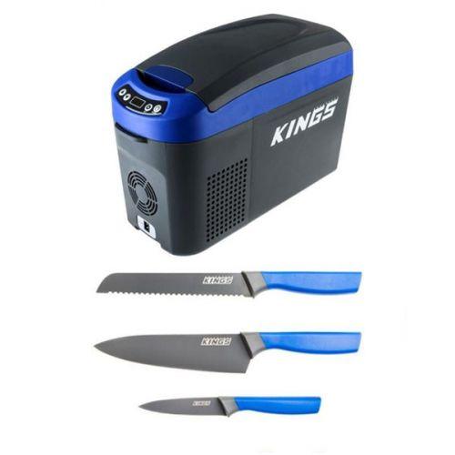 Adventure Kings 15L Centre Console Fridge/Freezer + 4-Piece Camping Chef's Knives Kit
