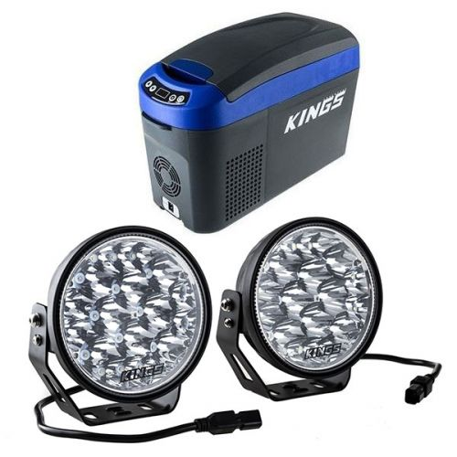 "Adventure Kings 15L Centre Console Fridge/Freezer + Adventure Kings Domin8r Xtreme 7"" LED Driving Lights (Pair)"