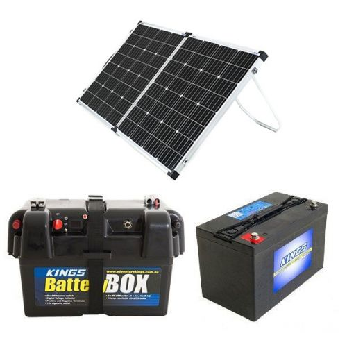 Adventure Kings 160w Solar Panel + Battery Box + AGM Deep Cycle Battery 115AH