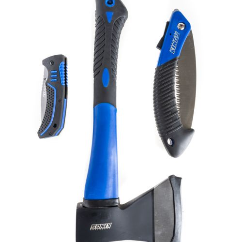 Kings Three Piece Axe, Folding Saw and Knife Kit | Camping Essential | Heavy-Duty Storage Case | Adventure Kings