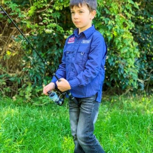 Kids Outdoor Fishing Shirt | Durable | Long-Sleeve | Sizes 4-14