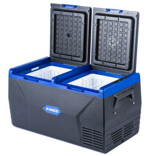 Kings 75L Fridge / Freezer | 12V & 240V | Fits 112 Cans | For Home, Car & Camping