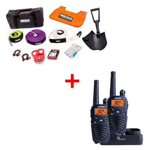 Hercules Complete Recovery Kit + Oricom Handheld UHF CB Radio Twin Pack - UHF2190