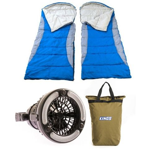 2x Adventure Kings - Hooded Sleeping Bag + Doona/Pillow Canvas Bag + 2in1 LED Light & Fan