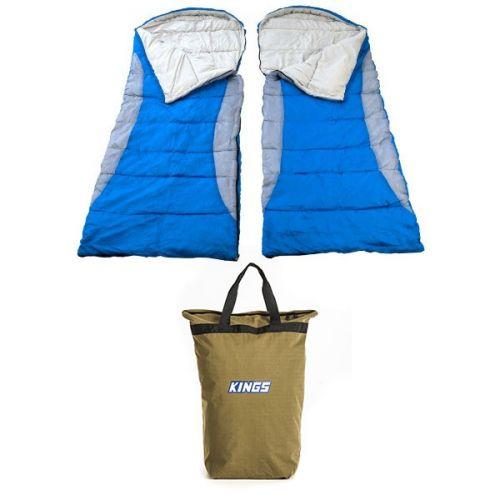2x Adventure Kings - Hooded Sleeping Bag + Doona/Pillow Canvas Bag