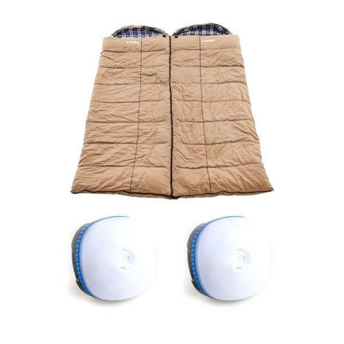 2x Adventure Kings Premium Sleeping bag -5°C to 5°C Degrees Celsius - Left and Right Zipper + 2x Mini Lantern