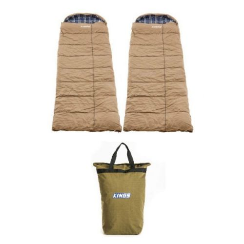 2x Adventure Kings Premium Sleeping bag -5°C to 5°C Degrees Celsius - Left and Right Zipper + Doona/Pillow Canvas Bag