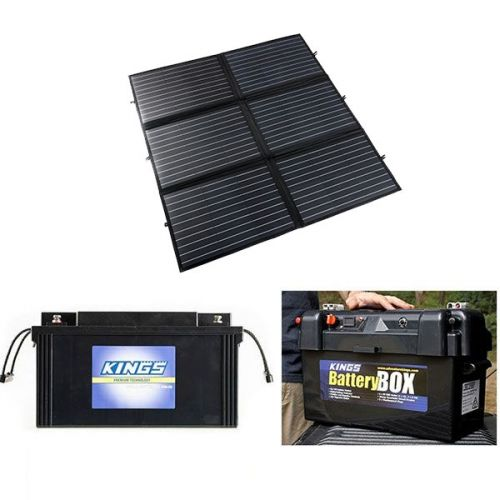 Adventure Kings 200W Portable Solar Blanket + 138Ah AGM Deep-Cycle Battery + Adventure Kings Maxi Battery Box