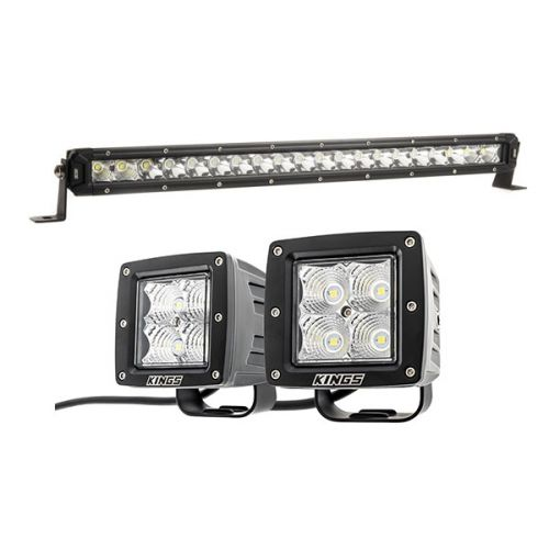 "Kings 20"" Slim Line LED Light Bar + Adventure Kings 3"" LED Work Light - Pair"