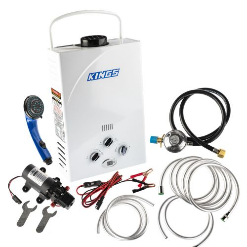 Kings Portable Gas Hot Water System   Camping Shower Water Heater   Tankless   Inc. Water Pump