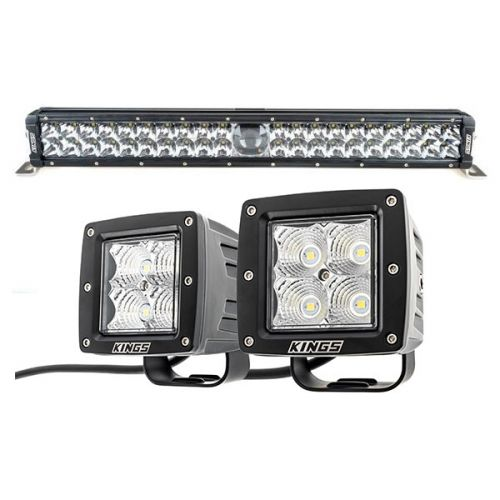 "Adventure Kings 24"" Laser Light Bar + 3"" LED Work Light - Pair"