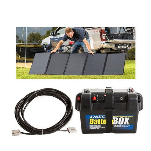 Adventure Kings 250W Solar Blanket + 10m Lead For Solar Panel Extension + Battery Box