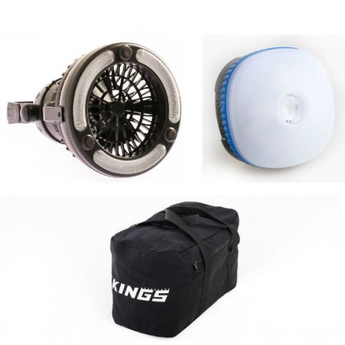 Adventure Kings Mini Lantern + 2in1 LED Light & Fan + 40L Duffle Bag