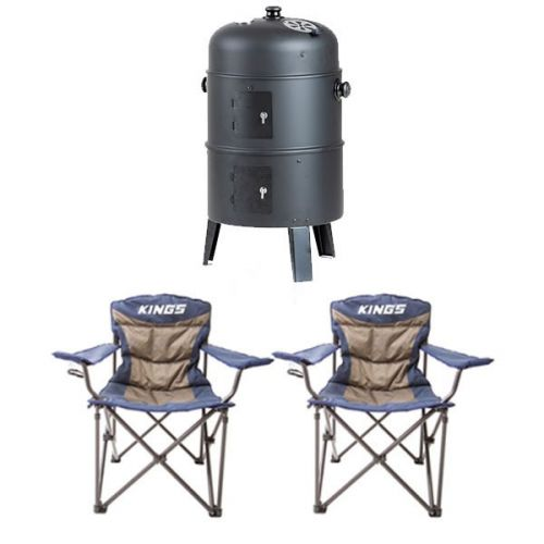 2x Adventure Kings Throne Camping Chair + Adventure Kings Portable Meat Smoker