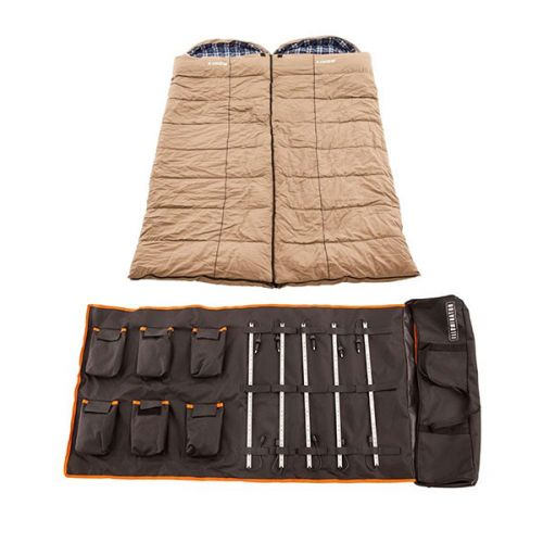 2x Adventure Kings Premium Sleeping bag -5°C to 5°C Degrees Celsius - Left and Right Zipper + 5 Bar Camp Light Kit