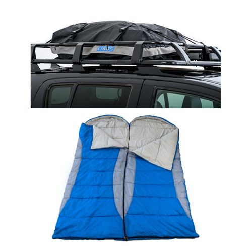 2x Kings Hooded Sleeping Bag | Rated to -2° + Half-Length Premium Waterproof Rooftop Bag