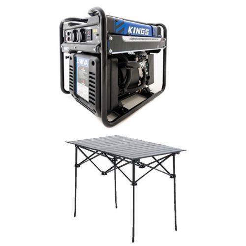 Adventure Kings 3.5kVA Open Generator + Aluminium Roll-Up Camping Table