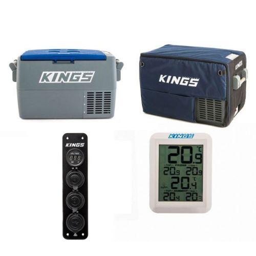 Adventure Kings 45L Camping Fridge + Kings 45L Camping Fridge Cover + Wireless Fridge Thermometer + 12V Accessory Panel