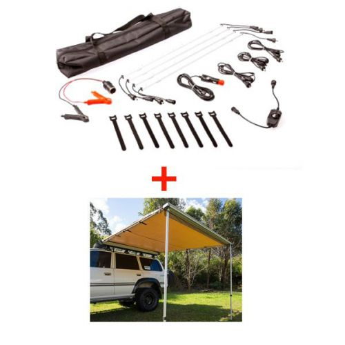 Adventure Kings Awning 2.5x2.5m + Illuminator 4 Bar Camp Light Kit