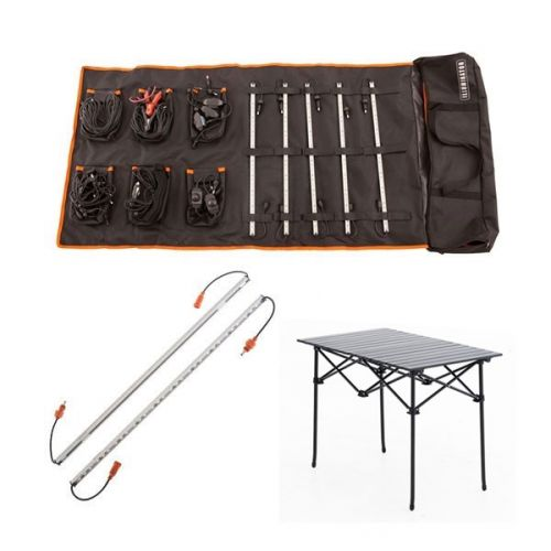 Adventure Kings Complete 5 Bar Camp Light Kit + Orange LED Camp Light Extension Kit + Adventure Kings Aluminium Roll-Up Camping Table