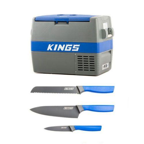 Adventure Kings 60L Camping Fridge/Freezer + 4-Piece Camping Chef's Knives Kit