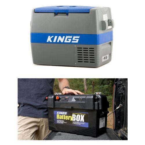 Adventure Kings 60L Camping Fridge/Freezer + Maxi Battery Box