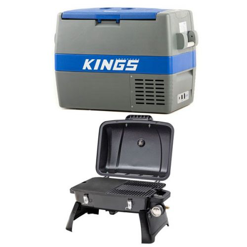 Adventure Kings 60L Camping Fridge/Freezer + Gasmate Voyager Portable Gas BBQ