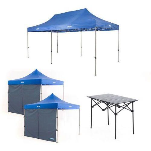 Adventure Kings - Gazebo 6m x 3m + 2x Adventure Kings Gazebo Side Wall + Aluminium Roll Up Camping Table